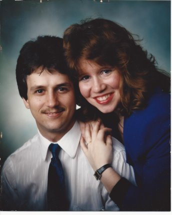 Our Engagement Photo from 1990, Looks straight out of John Hughes Casting, doesn't it?